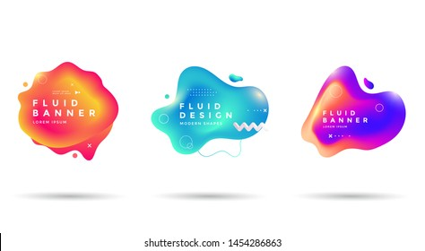 Set of abstract liquid shape. Fluid gradients banner design. Isolated dynamical art form.