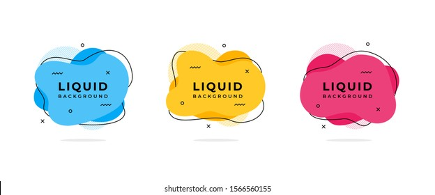 Set of abstract liquid shape. Fluid flat color design vector illustration template. Ready use for print and web design