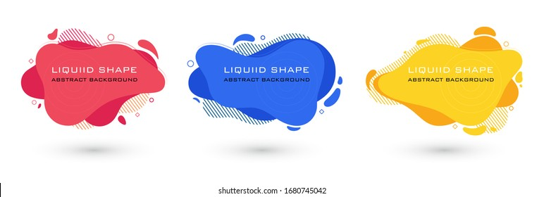 Set of abstract liquid shape graphic elements. Colorful gradient fluid design. Template for presentation, logo, banner. Vector illustration.