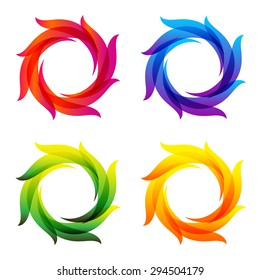Set of abstract logo design template. Corporate identity icon. Colorful wave vector illustration. Frame for you text.