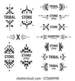 Set of abstract logo with tribal, ethnic, geometric elements, hipster, business label, navajo style isolated on white background