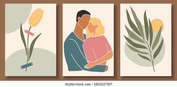 Set of abstract man and female shapes and silhouettes. Abstract couple portraits in pastel colors. Collection of contemporary art posters. Abstract  geometric shapes, leaves and flowers.