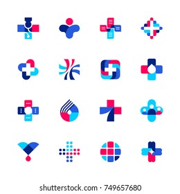 Set of abstract medical or pharmacy logo mark templates or icons with cross