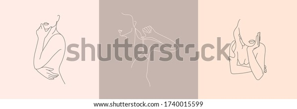 Set of Abstract minimalistic female figure in underwear. Vector fashion illustration of the female body in a trendy linear style. Elegant art. For posters, tattoos, logos of underwear stores
