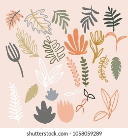Set of abstract modern floral elements. Digital hand drawn illustration. Pastel colored naive plants. Leafs, flowers and branches. Good for patterns, cards, flyer, banner., decoration, logo design.