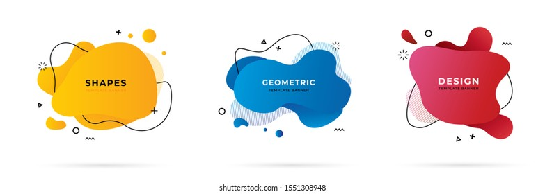 Set of abstract modern geometric graphic element banners. Dynamical colored forms and line with flowing liquid shapes. Template for the design of a logo, flyer or presentation - vector illustration