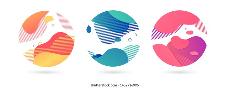 Set of abstract modern graphic circle elements. Dynamical colored around forms and line. Gradient abstract background  flowing liquid shapes. Template for the design of a flyer, presentation. Vector.