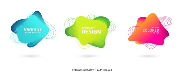 Set of abstract modern graphic elements. Dynamical bright luminous colored forms. Gradient abstract banners with flowing liquid shapes. Template for the design of a logo, flyer or presentation.