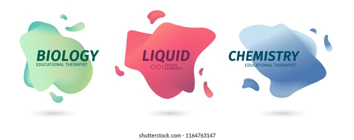 Set of abstract modern graphic elements. Dynamic colored biological scientific forms. Gradient abstract banners with flowing liquid shapes. Template for the design of logo or chemical brand. Vector