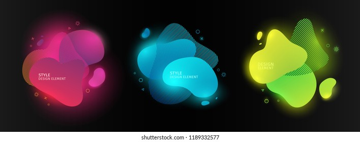 Set of abstract modern graphic elements. Dynamic color forms and line. Gradient neon abstract banner with bright flowing liquid shapes. Template for the design of a logo, flyer or presentation.