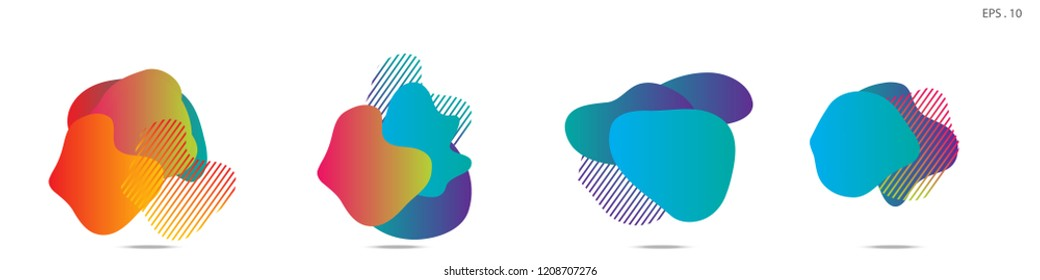 Set of abstract modern graphic elements. Dynamical colored forms and line. Gradient abstract banners with flowing liquid shapes. Template for the design of a logo,flyer or presentation. Vector.