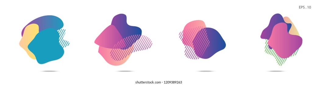 Set of abstract modern graphic elements. Dynamical colored forms and line. Gradient abstract banners with flowing liquid shapes. Template for the design of a logo,flyer or presentation. Vector Fluid.