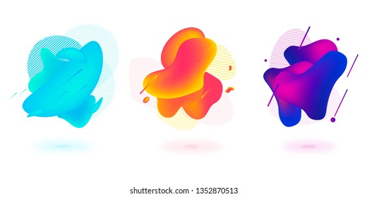 Set of abstract modern graphic elements. Dynamical colored forms and line. Gradient abstract banners with flowing liquid shapes. Template for the design of a logo, flyer or presentation.