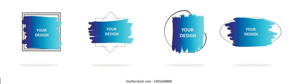 Set of abstract modern graphic elements. Colorful vector gradient shapes composition. Template for design, banner, flyer, poster, wallpaper, brochure, smartphone screen, mobile app