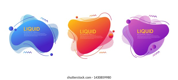 Set of abstract modern graphic elements with dynamical colored forms and line. Modern Template for the design of a logo, flyer or presentation.