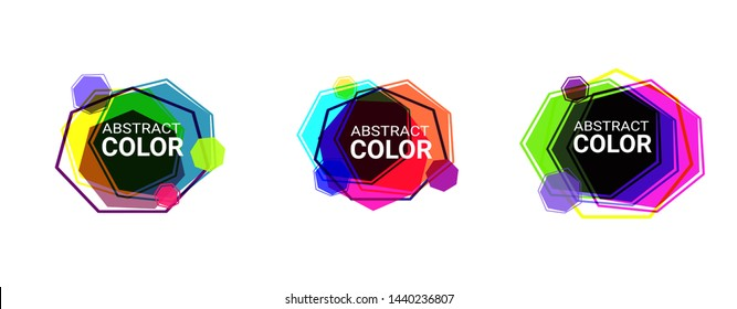 Set of abstract modern graphic elements in heptagon shapes. Dynamical colored forms and line. Abstract banners with hexagon shapes. Template for logo, flyer, presentation design. Vector illustration
