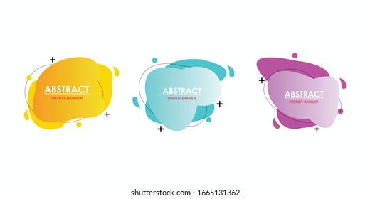 Set of abstract modern graphic elements. Dynamical colored forms and line. Gradient abstract banners with flowing liquid shapes. Template for the design of a logo, flyer or presentation. Vector.