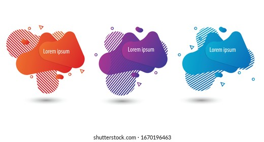 Set of abstract modern graphic elements. Gradient abstract banners with flowing liquid shapes.Template for the design of a logo, flyer or presentation. Vector.