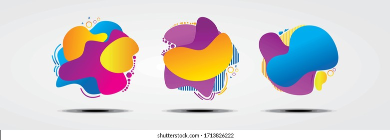 Set of abstract modern graphic elements. Dynamical colored forms and line. Gradient abstract banners with flowing liquid shapes. Template for the design of a logo, flyer or presentation. Vector