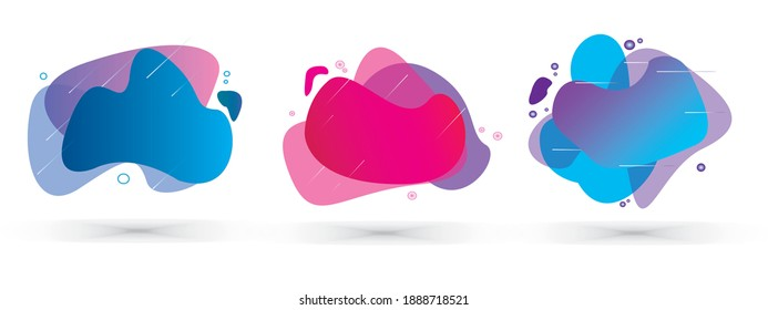 Set of abstract modern graphic elements. Dynamical colored forms and line. Gradient abstract banners with flowing fluid shapes. Template for the design of a flyer or presentation. Vector.