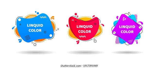 Set of abstract modern graphic elements. Dynamical colored forms and line. Vector illustration for banner, poster, logo, cover design. Yellow, cyan, pink, purple hatched shapes, stars and dots.