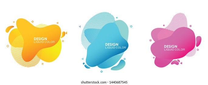 set of abstract modern graphic. liquid shape colorful. gradient abstrac banners. flyer or presentation