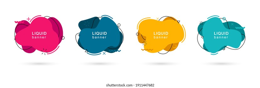 Set of abstract modern liquid shapes. Dynamical colored elements. Abstract fluid banners with geometric shapes in memphis style. Vector illustration.