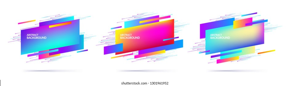 Set of abstract modern multi-colored geometric graphic elements. Dynamical colored shapes. Trendy minimal template for the design of a logo, banners or posters. Vector illustration