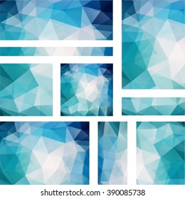 Set abstract modern poligonal background for site brochure, banner and covers, made with geometrical shapes to use for posters, book cover, invitation  and advertisement material, vector illustration