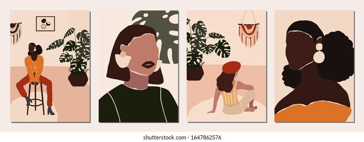 Set of abstract modern woman people faces portraits artistic trendy background templates poster cards. Trendy art minimal background poster wall art print. Vector illustration in hand drawn flat style