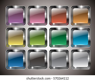 A set of abstract multi-color backgrounds in a silver frame, with space for your text. Vector illustration.