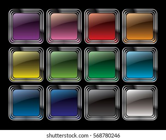 Set of abstract multi-color rounded square backgrounds with a silver frame, with space for your text. Vector illustration.