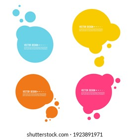 Set of abstract multicolored round banners with particles. Fusion of liquid droplets. Circle text box.
