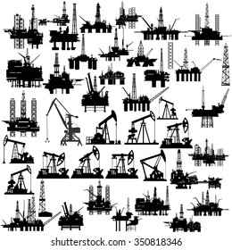Set of abstract oil pumps, derricks and rigs. The illustration on a white background.