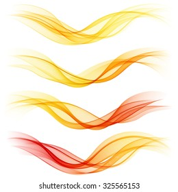 Set of abstract orange waves. Vector illustration EPS 10