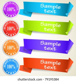 Set of abstract origami tag labels. Vector eps10 illustration