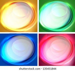 Set of abstract oval backgrounds