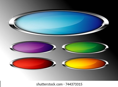Set of abstract oval backgrounds with a silver frame, with space for your text. Vector illustration.