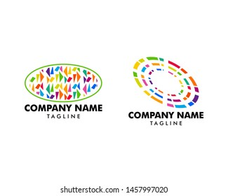 Set of Abstract Oval Mosaic Logo Design Template
