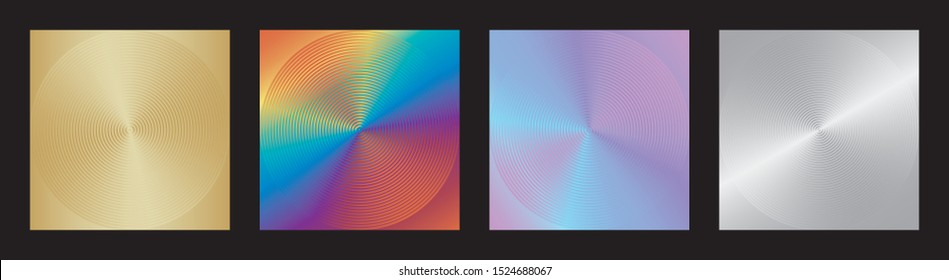 Set of abstract patterns background with metallic luster. Bright colorful geometric design. Vector illustration. Collection silvery, golden, vibrant rainbow colors textures of concentric circles.