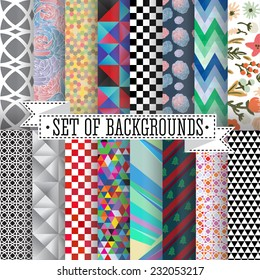 set of abstract patterns vector illustration