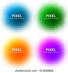 Set of abstract pixel colorful backgrounds, vector illustration