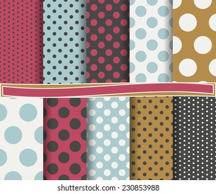 set of  abstract polka dot vector paper for scrapbook