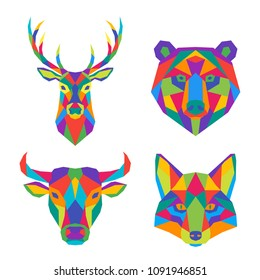 Set of abstract polygonal animals. Vector illustration. Geometric colorful head of deer, bear, bull and fox.