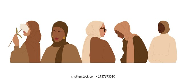 A set of abstract portraits of international women in hijab. Muslim faceless female. Minimalist vector illustration, isolated on a white background.