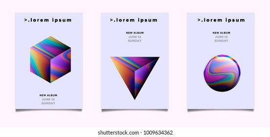 Set of abstract posters with cube, sphere, triangle - cosmic elixir stones with iridescent rainbow marbling stains.