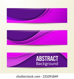 set of abstract purple banners. three background. Business design template. eps 10
