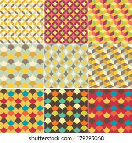 set of abstract retro geometric pattern for design
