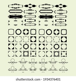 set of abstract retro vintage decorative frame logo design vector template