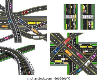 Set of abstract road junction. Crossing of various roads. Transport. Vector illustration
